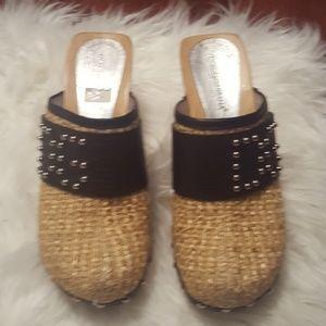 Dolce & Gabbana Shoes - Dolce & Gabbana Woven Straw Logo Clogs