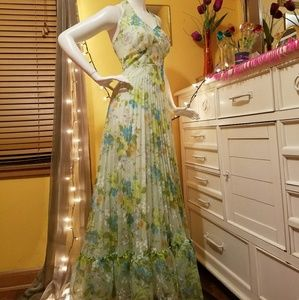 Late 60's-70's Floral Halter Dress/Gown