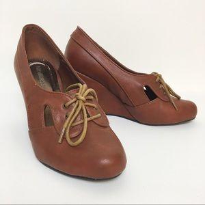 Modcloth Retro oxfords brown wedges vintage heels