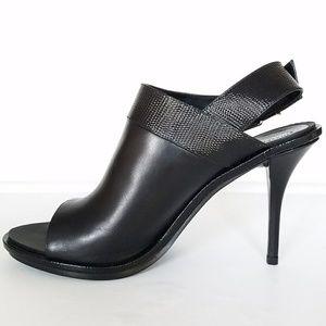 Balenciaga Black Leather Heeled Sandals