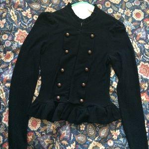 Goth steampunk black peplum jacket/sweater