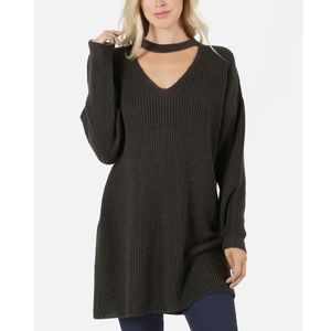KIRA Loose Fit Choker Sweater Top - ASH GREY