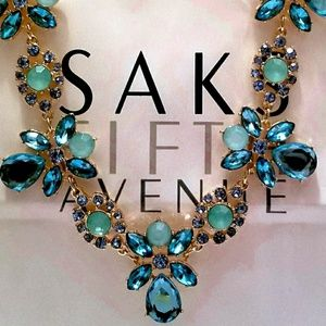 Jewelry - Turquoise Gold Crystalline Statement Necklace