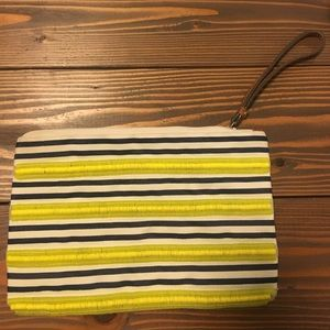 Colorful striped Loft wristlet
