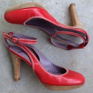 Anthropologie Maliparmi red coral leather heels