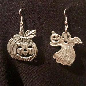 Jewelry - Vintage Halloween Ghost & Pumpkin Dangle Earrings
