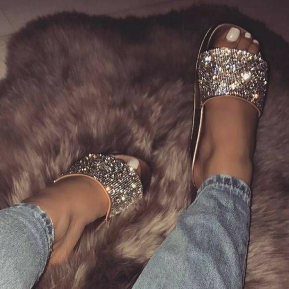 c1a3062be19ddb Rose Gold Swarovski rhinestones Open Toe Sandal