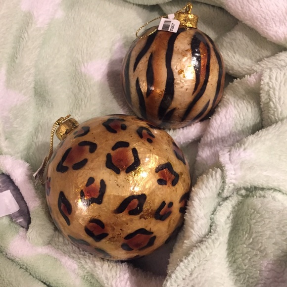Pier 1 Christmas Ornaments.Two Brand New Christmas Animal Print Ornaments