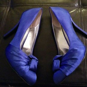 Fergie Blue Satin Knot Heels