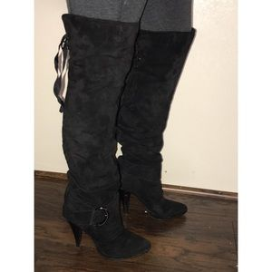 Shoes - Over the knee lace up boots.