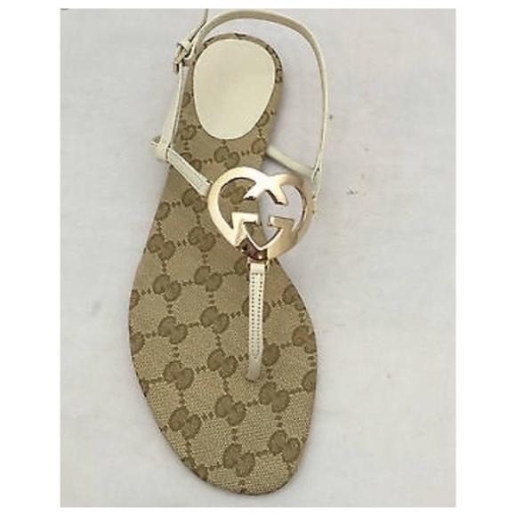 d52a0c0b5 Gucci Shoes | Gold Interlocking G Heart Logo Flat Sandal | Poshmark