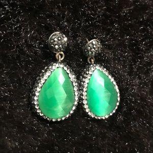 Jewelry - Small Tear Drop Earrings in Green