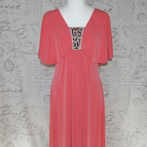Bob Mackie Jersey Maxi Dress Embroidered Detail S