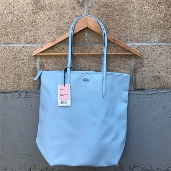 a7f4d034e8a Lacoste Bags | Nwt Authentic Leather Baby Blue Tote Bag | Poshmark