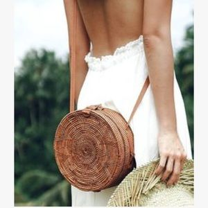 Bali Round Rattan Circular Shoulder Bag