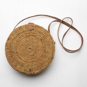 Round Rattan Basket Bag Bohemian Shoulder Bag
