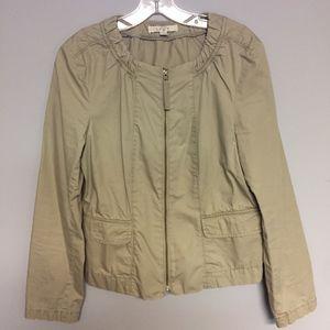 LOFT Khaki Jacket with Ruffle Back