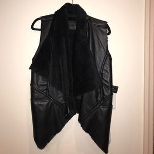 BLANK NYC faux leather, faux fur lined vest