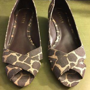 Ralph Lauren Leopard Print Peep Toe Wedges 8.5b