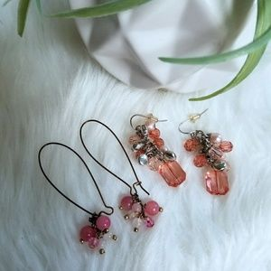 Pretty jewelry earrings peach pink