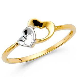 14k Yellow Gold Two Tone Heart Ring