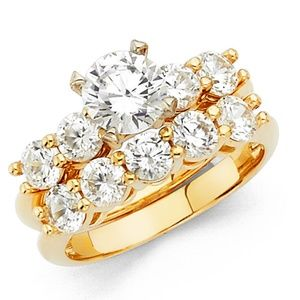 Jewelry - 14k Solid Yellow Gold Round Engagement Ring & Band