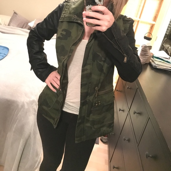 4bf1ee73e9eff BCBG Jackets & Coats | Camo Jacket With Faux Leather Sleeves | Poshmark
