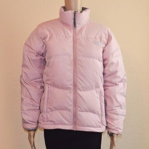 North Face 550 Pink Zip Up Puffer Down Jacket