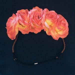 Pink Rose Festival Flower Headband