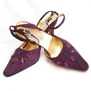 Apostrophe satin heels