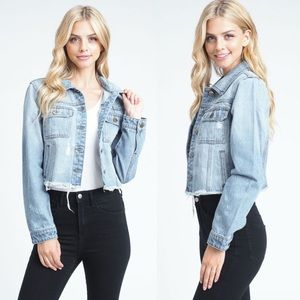 Jackets & Blazers - Blue Raw Edges Short Denim Jacket