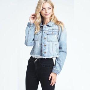Jackets & Blazers - Blue Raw Edges Short Denim Jacket