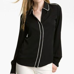 Rachel Zoe Lara Stretch Silk Blouse in Black