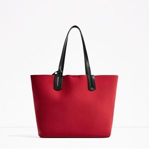 NWT Zara Neoprene Tote with Split Suede flap Red