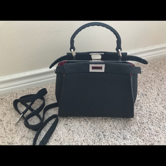b4871f8756ea Fendi Handbags - Fendi Mini Peekaboo Selleria Black Pink