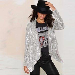 Metallic Sequin Assymetric Jacket