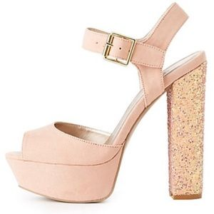 Shoes - Brand new. Never used. Pink glitter heels