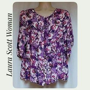Laura Scott Woman Floral Button Down Top Size 1X
