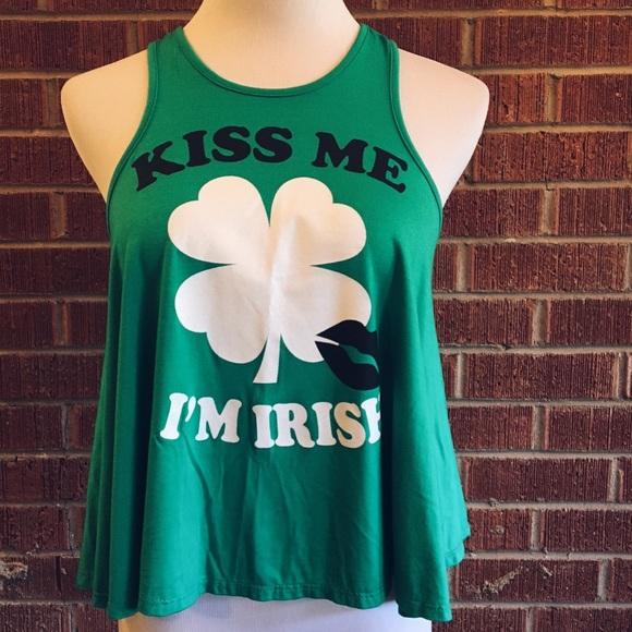 24ff8e10b56 Kiss me I m Irish kelly green clover crop top tank