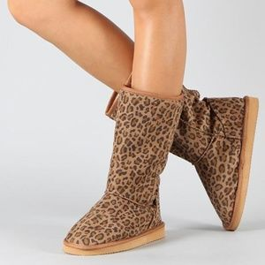 Shoes - miss me leopard mid calf bootie