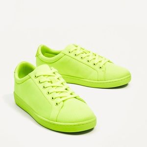 Zara lime green single color sneakers