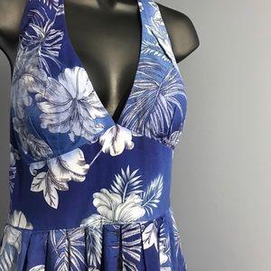 Blue floral halter dress