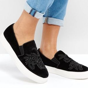 Embroidered slip on sneakers
