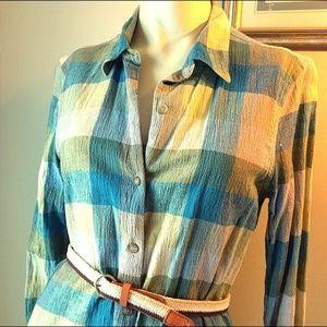 Teal + Lime Plaid Shirtdress