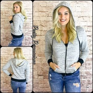 Gray & Black Zip Up Hooded Sweater Jacket