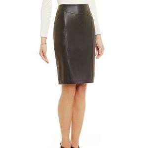 100% leather knee length skirt