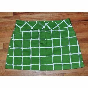 TRINA TURK Green/White Checkered Square Mini Skirt