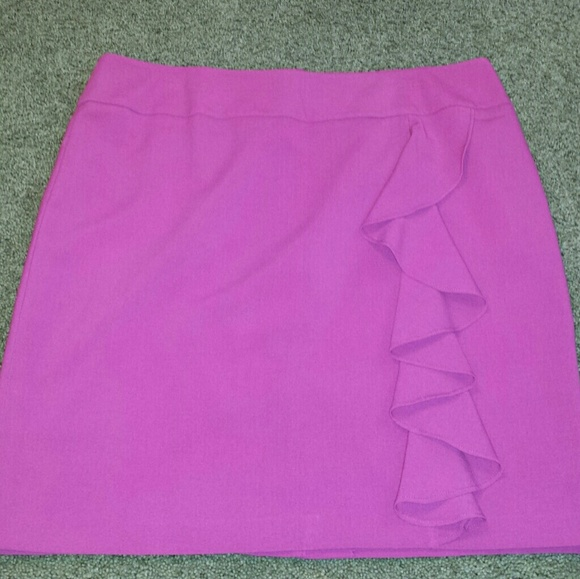 cad11406f Skirts | Pink Ruffle Pencil Skirt Size 16 Fully Lined | Poshmark