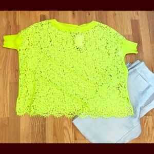 NWT Catherine Malendrino Wide-Neck Lace Blouse