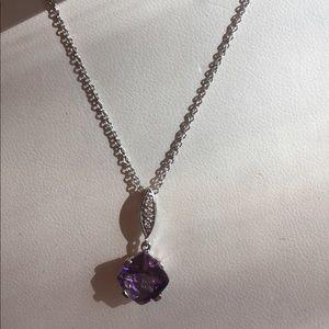 Jewelry - *NWT* 14ktwhite gold, amethyst and diamond pendant